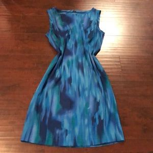 🔵Ann Taylor Blue Watercolor Sheath Dress